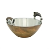 Alluring Wood Stainless Steel Horn Bowl, Naturl wood, Silver
