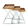 """Metal Wood Tray Table S/3 20"""", 23"""", 25""""H, Light Brown"""