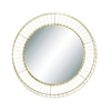 "Metal Gold Round Wall Mirror 31""D, Gold, Reflective"