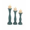 Benzara The Eastern Set Of 3 Wood Candle Holder