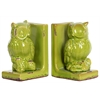 Benzara Stoneware Owl Bookend Assortment - Yellow Green