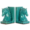 Benzara Stoneware Horse Bookend Assortment - Turquoise