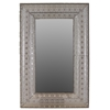 "Benzara 50"" Rectangular Shaped Metal Wall Mirror W/ Beautiful Design In Silver"