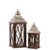 Benzara Rustic & Charming Wooden Lantern Set Of Two W/ Metallic Roof In Brown