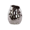 Ceramic Short Vase With Embossed Spiral Design Large Chrome Silver