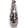 Large Ceramic Tall Vase With Embossed Spiral Design Chrome Silver