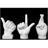 Benzara Fiberstone Sign Language Hand Decor Assortment Of Three - White
