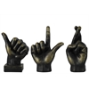 Benzara Fiberstone Sign Language Hand Decor Assortment Of Three - Bronze