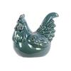Ceramic Crouching Rooster Craquelure - Turquoise