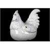 Ceramic Crouching Rooster Craquelure - White