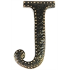 Metal Wall Decor Letter J With Rivets Dark Bronze