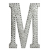 Benzara Metal Wall Decor Letter M With Rivets - Galvanized Zinc