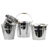 Metal Bucket With Wood Handle Set Of Four