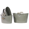 Set Of Four Metal Oval Buckets With Wood Handle - Gray