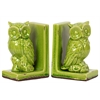 Benzara Charming & Captivating Stoneware Owl Bookend In Green