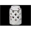 "9"" Ceramic Lantern With Metal Handle - White"
