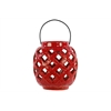 Ceramic Round Lantern With Metal Handle - Red