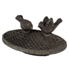 Benzara Traditional Style Cement Bird Feeder W/ Bird Figurines In Black Color