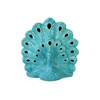 Ceramic Peacock Open Tail Turquoise