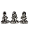 Ceramic Monk Assortment Of Three Silver