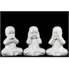 Benzara Ceramic Monk Assortment Of Three White