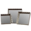 Benzara Metal Mirror/Tray Set Of Three Pierced Chrome Silver