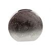 Contemporary & Stylish Flattened Round Shape W/ Hammered Design Ceramic Vase Silver