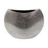 Benzara Stylish & Modern Ceramic Vase W/ Crescent Shape Neck In Hammered Finish Silver