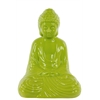 Ceramic Meditating Buddha In Dhyana Mudra - Yellow Green