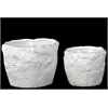 Benzara Ceramic Uneven Pots Set Of Two Dimpled - White