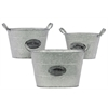 Benzara Set Of Three Durable Metal Buckets