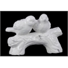 Benzara Cute & Adorable Ceramic Love Birds On A Stump In White