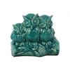 Charming & Captivating Triple Ceramic Owls On A Stump In Turquoise