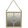Wooden Square Mirror With Rope Hanger - Brown