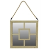 Modern Wooden Square Mirror With Rope Hanger - Natural