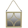 Stylish Wooden Square Mirror With Rope Hanger - Natural