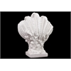 Benzara Ceramic Giant Clam Seashell On Coral Pedestal