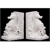 Benzara Attractive Ceramic Sea Horse Bookend Gloss White