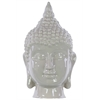 Ceramic Buddha Head With Pointed Ushnisha - Mocha