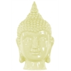 Ceramic Buddha Head With Pointed Ushnisha - Lemon Chiffon