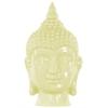Ceramic Buddha Head With Pointed Ushnisha - Lemon Chiffon
