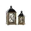 Set Of Two Wood Lantern With Cast Iron Top Metal Handle And Glass Sides