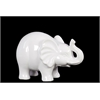 Benzara Superb Small Ceramic Elephant Gloss White