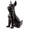 Magnificent Ceramic Sitting Scottish Terrier Dog With Pricked Ears Gloss Black