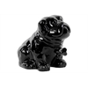 Ceramic Sitting Bulldog Puppy Coin Bank With Bone Pendant On Dog Collar Gloss Black