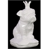 Benzara Ceramic British Bulldog With 5 Spiked Crown Sitting On A Cushion Gloss White