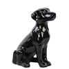 Ceramic Sitting Polish Hound Dog Gloss Black