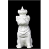 Ceramic Sitting Bulldog With Crown Gloss White