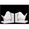 Benzara Delightful & Endearing Ceramic Bird Bookend Embellished W/ Beautiful Motif White