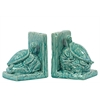Benzara Elegantly & Skillfully Sculpted Ceramic Sea Turtle Bookend Turquoise